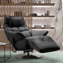 Fauteuil de relaxation électrique en cuir noir - VERONE