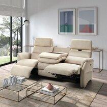 Canapé 3 places de relaxation et têtières électriques beige
