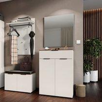 Ensemble de meubles pour vestiaire crème et naturel - TRINA