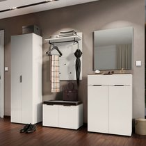 Ensemble de 4 meubles pour vestiaire crème et naturel - TRINA