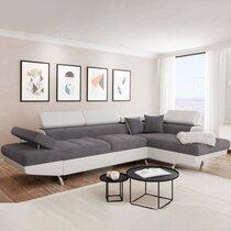 Canapé d'angle à droite convertible 5 places gris et blanc - ALBANE