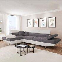 Canapé d'angle à gauche convertible 5 places gris et blanc - ALBANE