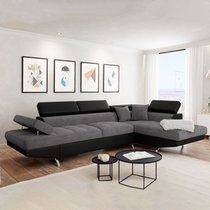 Canapé d'angle à droite convertible 5 places gris et noir - ALBANE