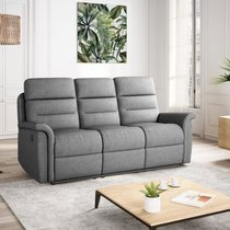 Canapé de relaxation manuel 3 places en tissu gris clair - AYMARIS