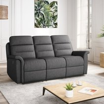 Canapé de relaxation manuel 3 places en tissu gris foncé - AYMARIS