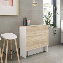 Table pliante 2 abattants 140x77x78 cm naturel et blanc