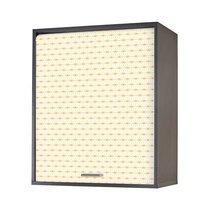 Meuble haut de cuisine à rideau 60 cm noir imprimé jaune - COOK