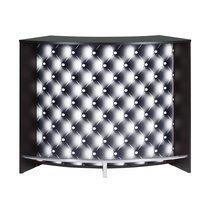Bar 2 portes 134,5x55,3x104,8 cm noir et décor capitons - KAPIK
