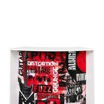 Bar 2 portes 134,5x55,3x104,8 cm noir et décor atelier rouge - KAPIK