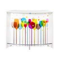 Bar 2 portes 134,5x55,3x104,8 cm noir et décor ballons - KAPIK