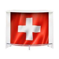Bar 2 portes 134,5x55,3x104,8 cm noir et décor drapeau Suisse - KAPIK