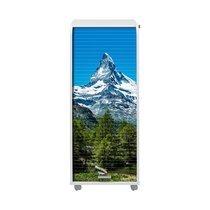 Classeur à rideau sur roulettes H117 cm blanc décor montagne - GAETAN
