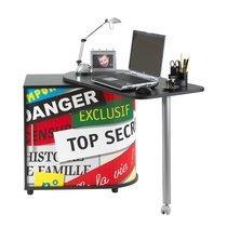 Bureau avec plateau pivotant noir décor stickers - FUN