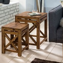 Lot de 2 tables d'appoint carrées en bois massif