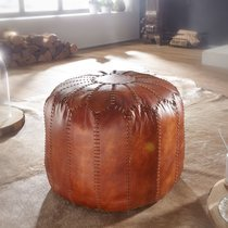 Pouf 52x52x40 cm en cuir véritable marron