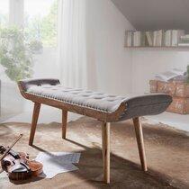 Banc 125x38x51 cm en bois et tissu naturel et gris