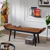 Banc 125x38x51 cm en bois et cuir véritable noir et marron