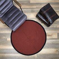Tapis rond 120 cm en coton terracotta et noir