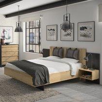 Lit 160x200 cm avec tête de lit et 2 chevets naturel et noir - TIBU