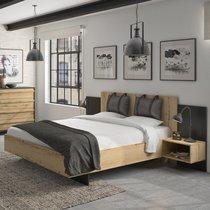 Lit 180x200 cm avec tête de lit et 2 chevets naturel et noir - TIBU