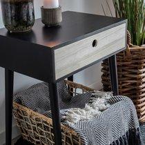 Chevet 1 tiroir 45x32x54,5 cm en bois noir et naturel - CLIMEA