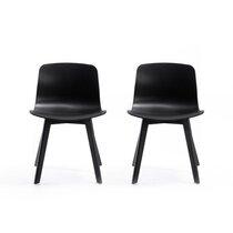 Lot de 2 chaises design 50x49,5x77 cm noir