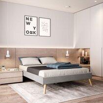 Cadre de lit et sommier à lattes 140x190 cm gris clair  et naturel
