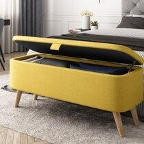 Coffre de rangement 101 cm en tissu jaune - LEROS