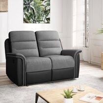 Canapé de relaxation manuel 2 places 154x98x99 cm gris blanc