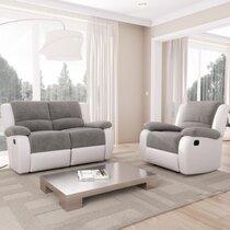 Fauteuil de relaxation 2 places 143x93x96 cm gris et blanc