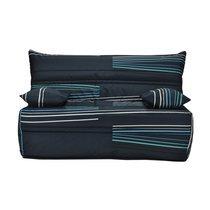 Banquette-lit accordéon 140 cm matelas 9 cm tissu motif noir et bleu