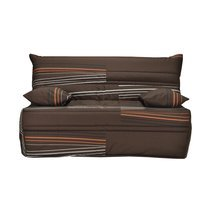 Banquette-lit accordéon 140 cm matelas 9 cm motif marron et orange