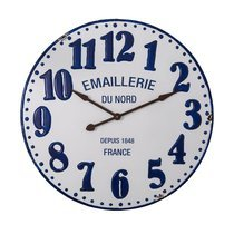 Horloge 90x4,5x90 cm en métal blanc et bleu