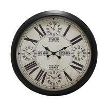 Horloge industrielle 90 cm en métal et verre noir