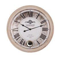 Horloge industrielle 68 cm en bois de sapin et métal beige
