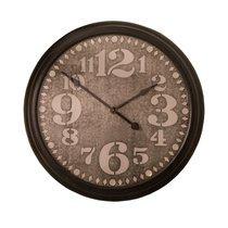 Horloge ronde 93 cm en métal marron et noir
