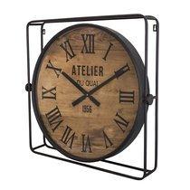 Horloge carrée 60x10x60 cm en métal noir et naturel