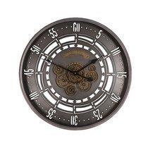 Horloge industrielle avec engrenages 60 cm en métal gris
