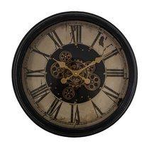 Horloge vintage avec engrenages 58 cm en métal noir