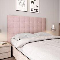 Tête de lit 140 cm capitonnée en tissu rose - HORTENSE