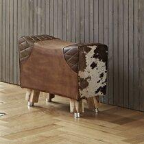 Tabouret vintage 57x32x48 cm en cuir marron