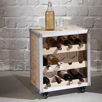 Meuble range bouteilles 53x33x63 cm en pin naturel et aluminium