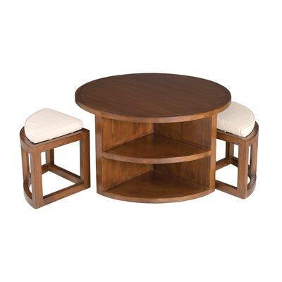 Table basse ronde avec  2 tabourets en bois - VOTARA
