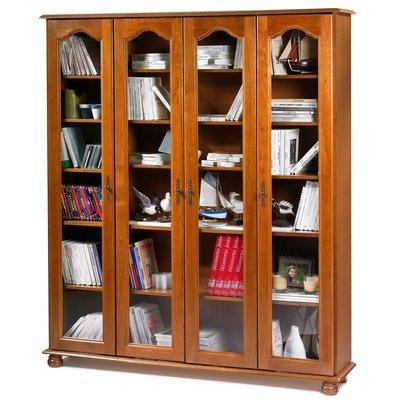 Bibliothèque 4 portes vitrées en chêne - QUIMPER