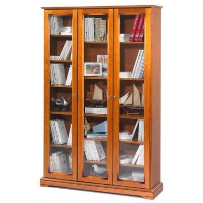 Bibliothèque 3 portes vitrées Florie - Merisier
