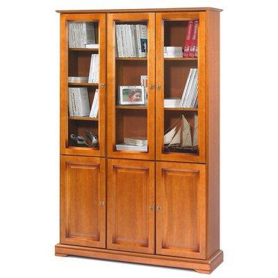 Bibliothèque 3 portes + 3 portes vitrées Florie - Merisier