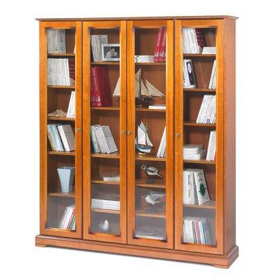 Bibliothèque Louis Philippe 4 portes vitrées en finition merisier - FLORIE