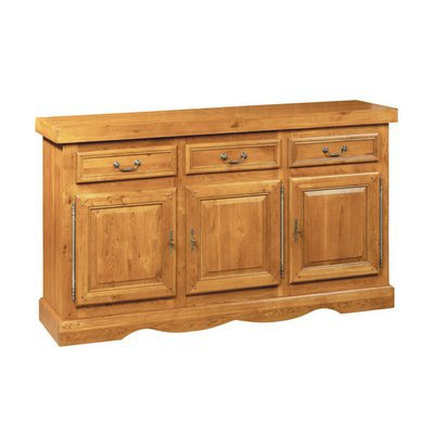 Bahut 3 portes et 3 tiroirs en chêne moyen - HELENE