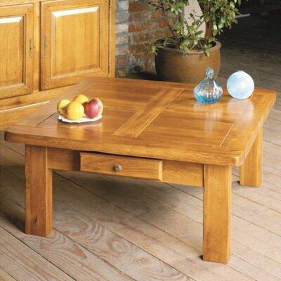 Table basse carrée 1 tiroir en chêne moyen - HELENE