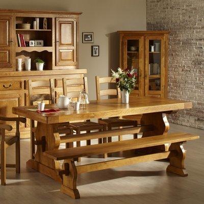 Table d'Abbaye avec pied lyre 220 cm en chêne moyen - HELENE